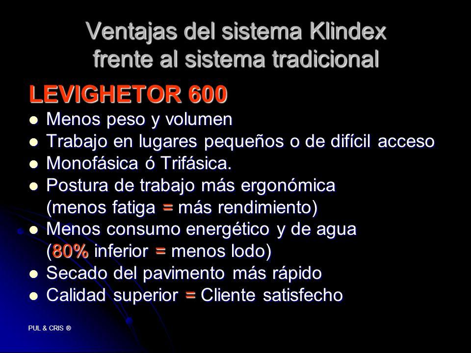 PUL & CRIS ® Ventajas del sistema Klindex frente al sistema tradicional LEVIGHETOR 600 Menos peso y volumen Menos peso y volumen Trabajo en lugares pe