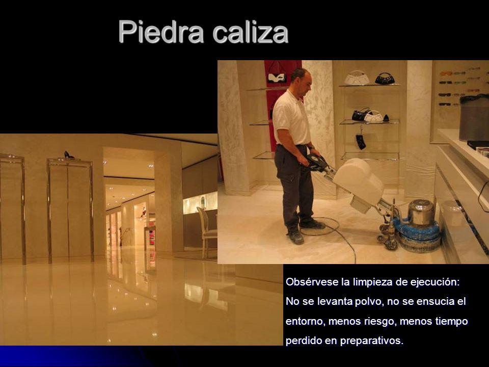 PUL & CRIS ® Piedra caliza Obsérvese la limpieza de ejecución: No se levanta polvo, no se ensucia el entorno, menos riesgo, menos tiempo perdido en preparativos.