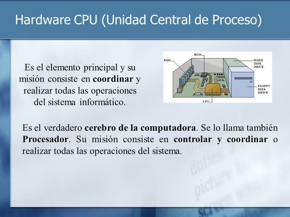 Hardware CPU (Unidad Central de Proceso) coordinar Es el elemento principal y su misión consiste en coordinar y realizar todas las operaciones del sis