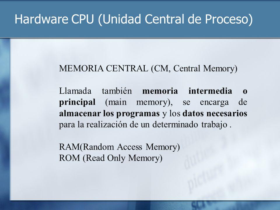 Hardware CPU (Unidad Central de Proceso) MEMORIA CENTRAL (CM, Central Memory) Llamada también memoria intermedia o principal (main memory), se encarga
