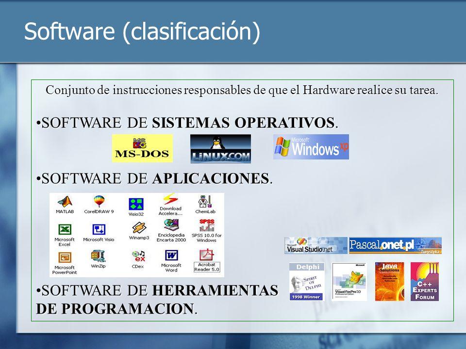Software (clasificación) Conjunto de instrucciones responsables de que el Hardware realice su tarea. SOFTWARE DE SISTEMAS OPERATIVOS.SOFTWARE DE SISTE