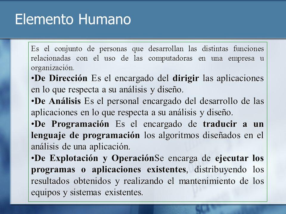 Elemento Humano Es el conjunto de personas que desarrollan las distintas funciones relacionadas con el uso de las computadoras en una empresa u organi