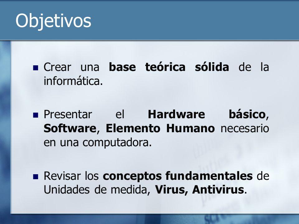 Objetivos Crear una base teórica sólida de la informática. Presentar el Hardware básico, Software, Elemento Humano necesario en una computadora. Revis