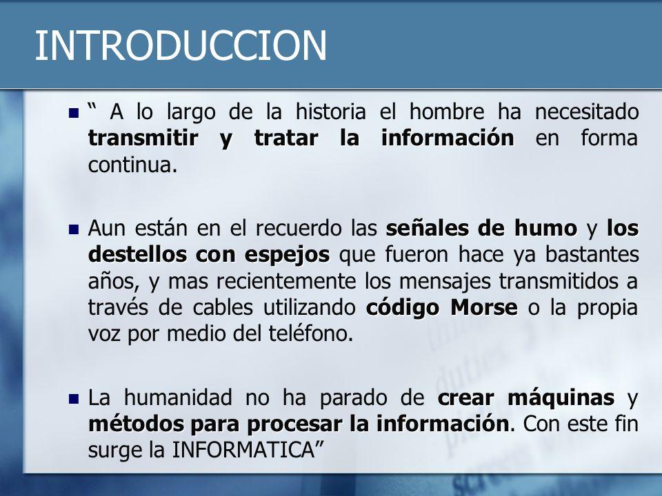 INTRODUCCION transmitir y tratar la información A lo largo de la historia el hombre ha necesitado transmitir y tratar la información en forma continua