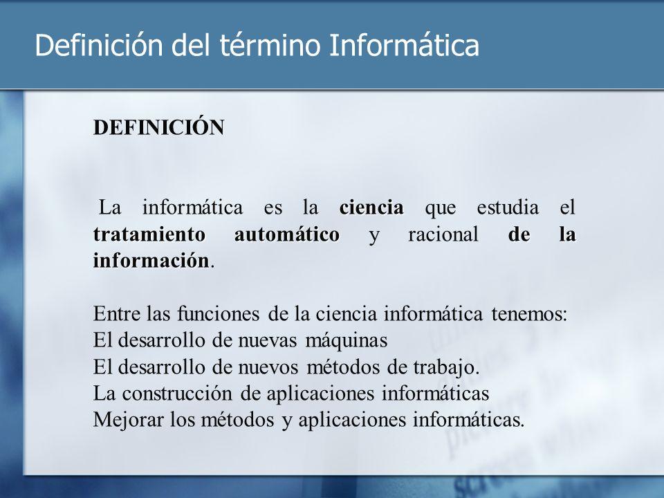 Definición del término Informática DEFINICIÓN ciencia tratamiento automáticode la información La informática es la ciencia que estudia el tratamiento