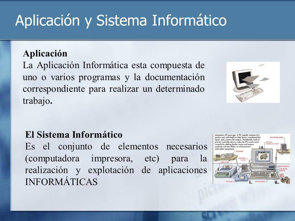 Aplicación y Sistema Informático Aplicación La Aplicación Informática esta compuesta de uno o varios programas y la documentación correspondiente para