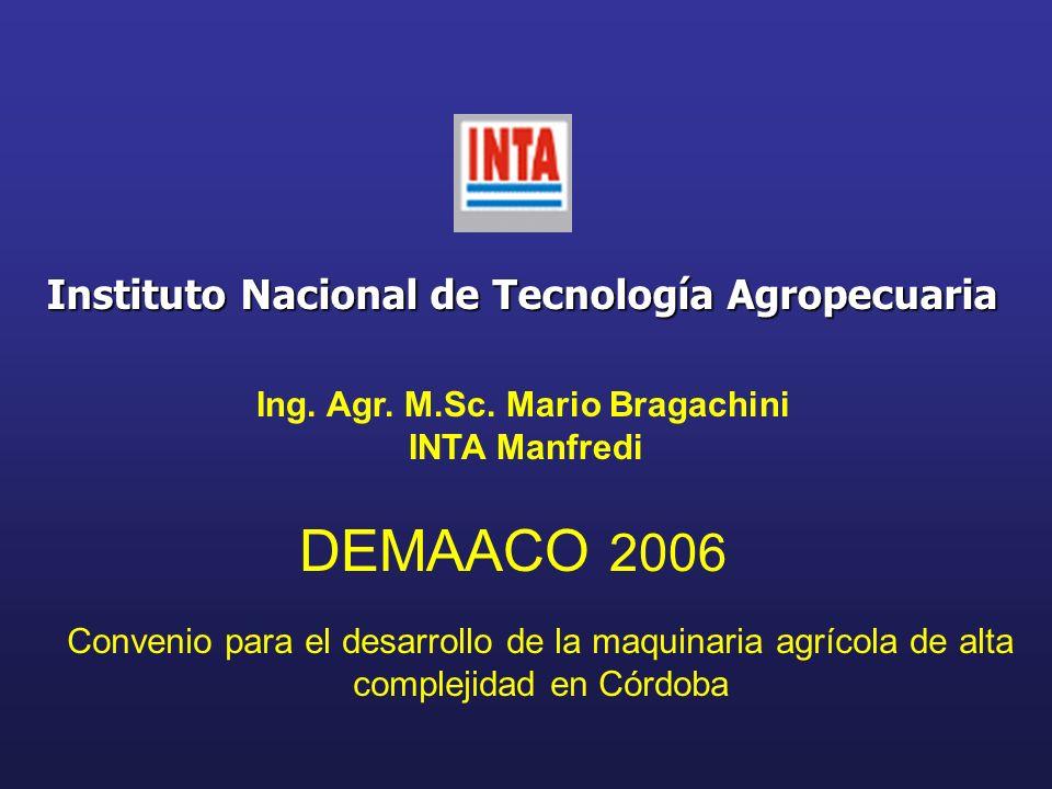 Instituto Nacional de Tecnología Agropecuaria Ing. Agr. M.Sc. Mario Bragachini INTA Manfredi DEMAACO 2006 Convenio para el desarrollo de la maquinaria