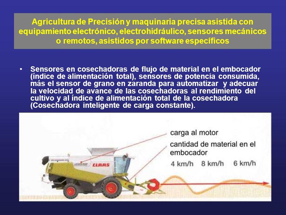 Sensores en cosechadoras de flujo de material en el embocador (índice de alimentación total), sensores de potencia consumida, más el sensor de grano e