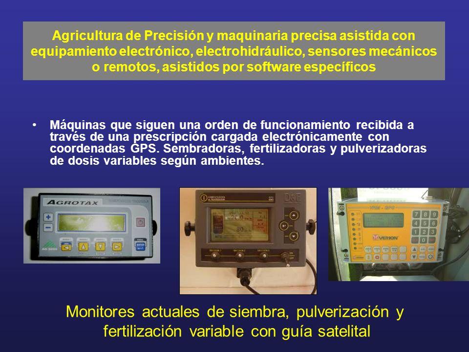 Máquinas que siguen una orden de funcionamiento recibida a través de una prescripción cargada electrónicamente con coordenadas GPS. Sembradoras, ferti