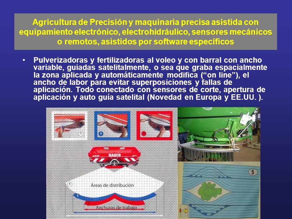 Pulverizadoras y fertilizadoras al voleo y con barral con ancho variable, guiadas satelitalmente, o sea que graba espacialmente la zona aplicada y aut