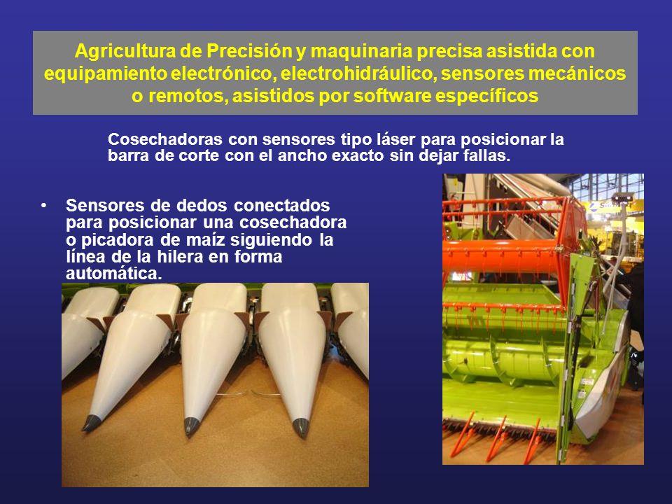Sensores de dedos conectados para posicionar una cosechadora o picadora de maíz siguiendo la línea de la hilera en forma automática. Agricultura de Pr