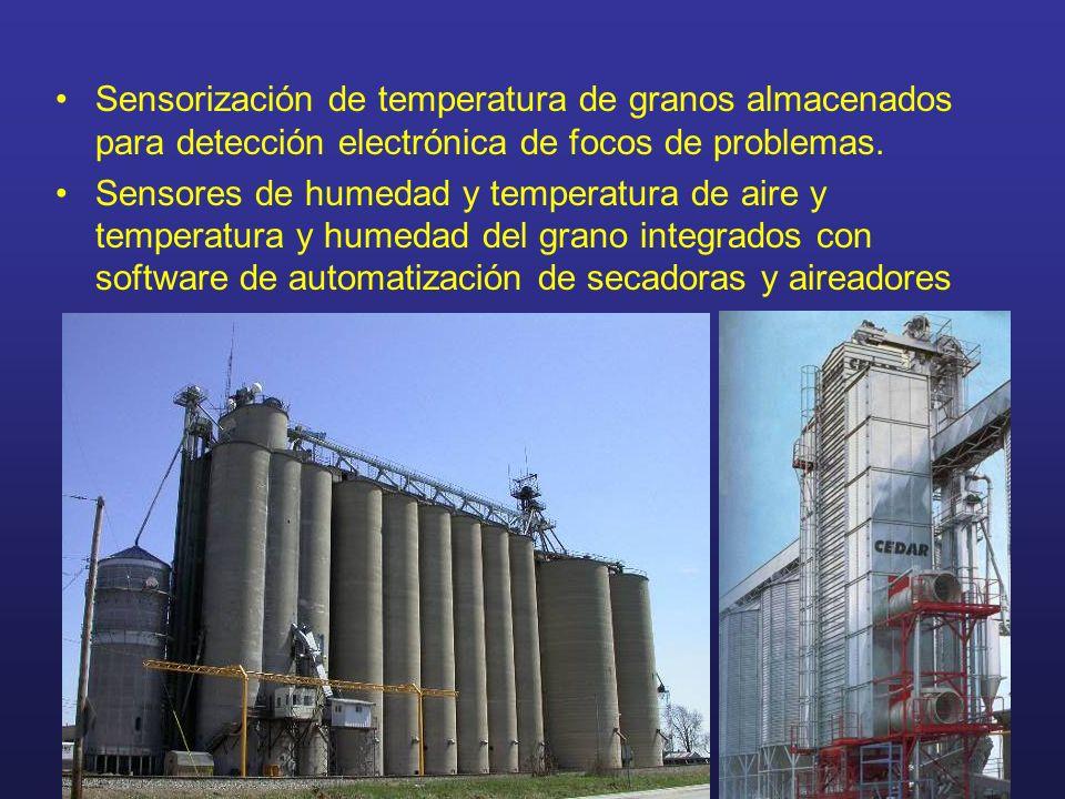 Sensorización de temperatura de granos almacenados para detección electrónica de focos de problemas. Sensores de humedad y temperatura de aire y tempe