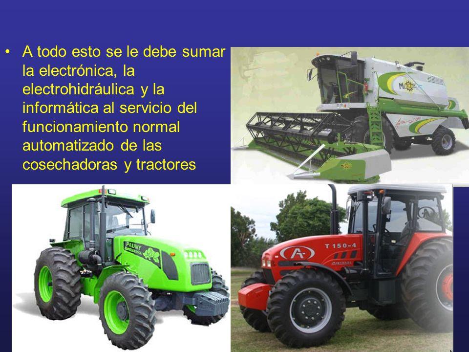 A todo esto se le debe sumar la electrónica, la electrohidráulica y la informática al servicio del funcionamiento normal automatizado de las cosechado