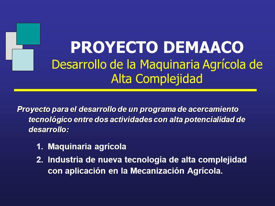 PROYECTO DEMAACO Desarrollo de la Maquinaria Agrícola de Alta Complejidad 1.Maquinaria agrícola 2.Industria de nueva tecnología de alta complejidad co