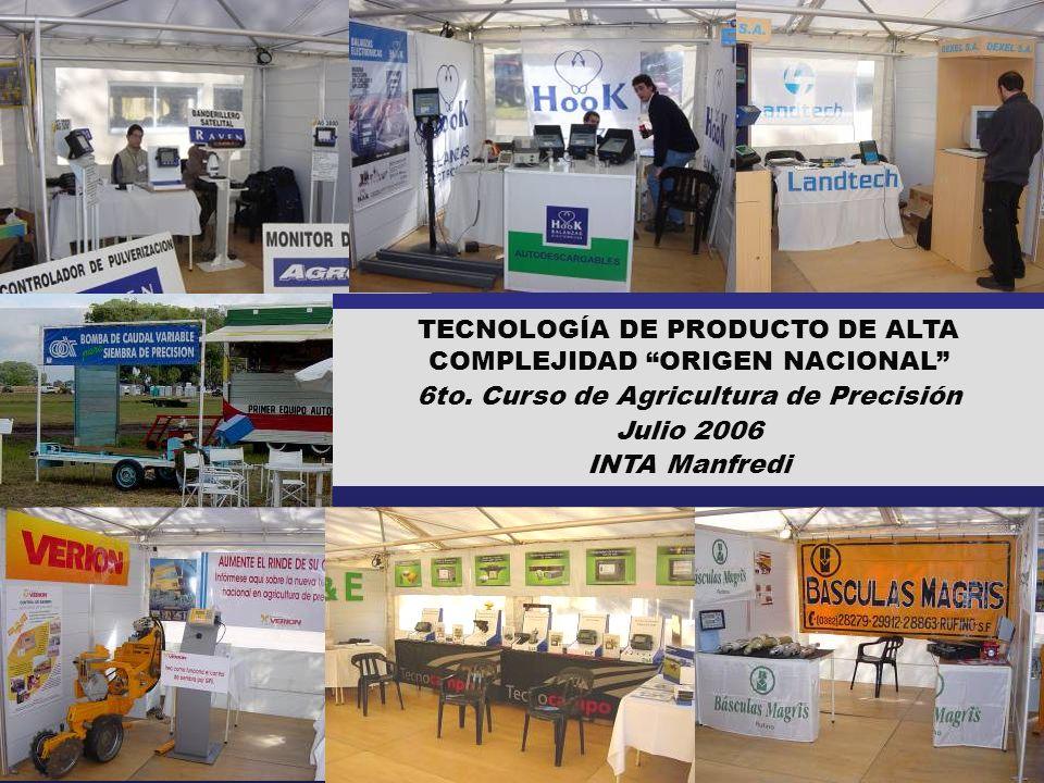 TECNOLOGÍA DE PRODUCTO DE ALTA COMPLEJIDAD ORIGEN NACIONAL 6to. Curso de Agricultura de Precisión Julio 2006 INTA Manfredi