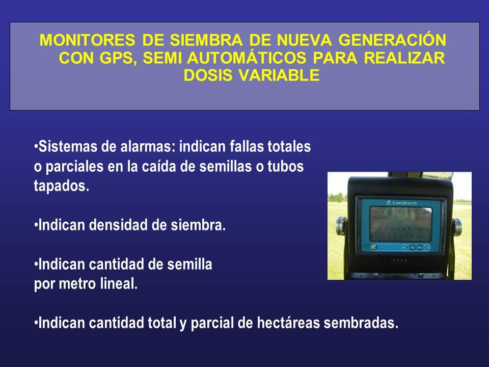 MONITORES DE SIEMBRA DE NUEVA GENERACIÓN CON GPS, SEMI AUTOMÁTICOS PARA REALIZAR DOSIS VARIABLE Sistemas de alarmas: indican fallas totales o parciale