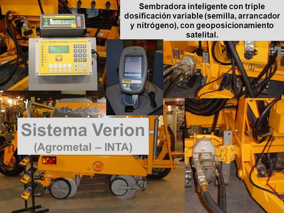 Sembradora inteligente con triple dosificación variable (semilla, arrancador y nitrógeno), con geoposicionamiento satelital. Sistema Verion (Agrometal