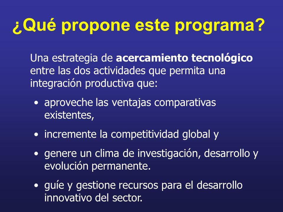 ¿Qué propone este programa? Una estrategia de acercamiento tecnológico entre las dos actividades que permita una integración productiva que: aproveche