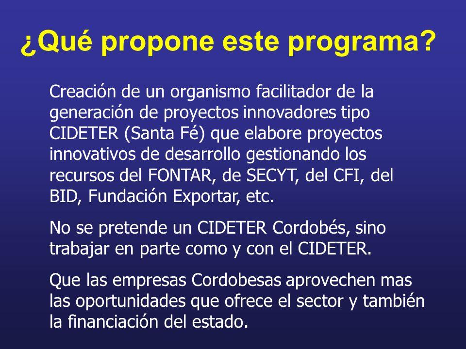 ¿Qué propone este programa? Creación de un organismo facilitador de la generación de proyectos innovadores tipo CIDETER (Santa Fé) que elabore proyect