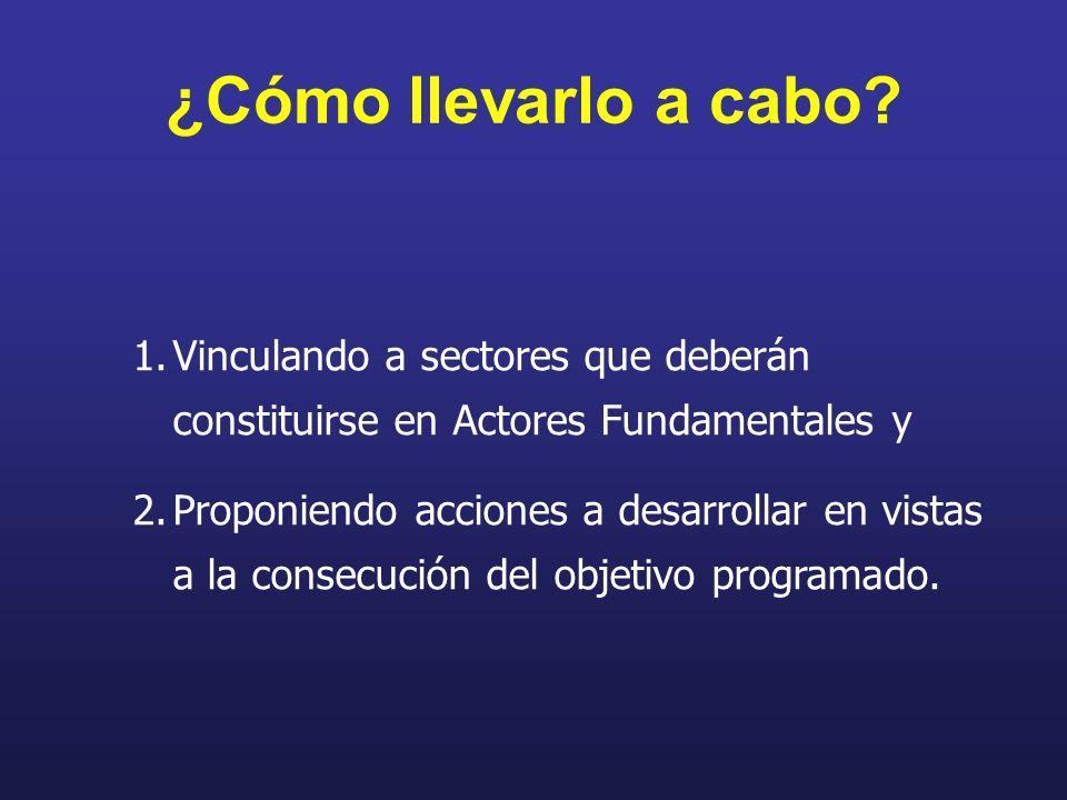 1.Vinculando a sectores que deberán constituirse en Actores Fundamentales y 2.Proponiendo acciones a desarrollar en vistas a la consecución del objeti