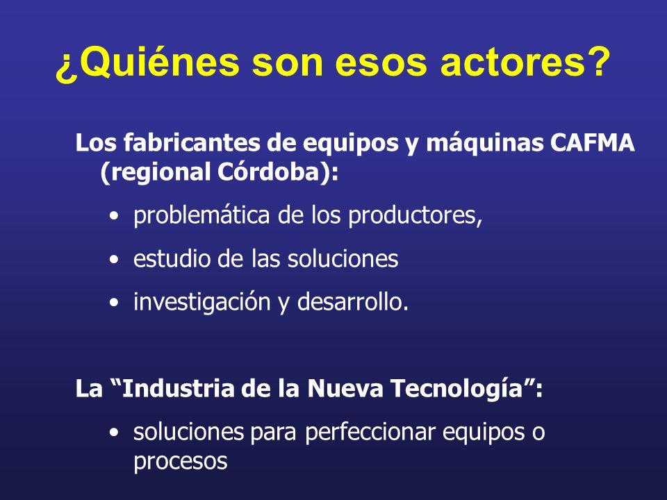 ¿Quiénes son esos actores? Los fabricantes de equipos y máquinas CAFMA (regional Córdoba): problemática de los productores, estudio de las soluciones