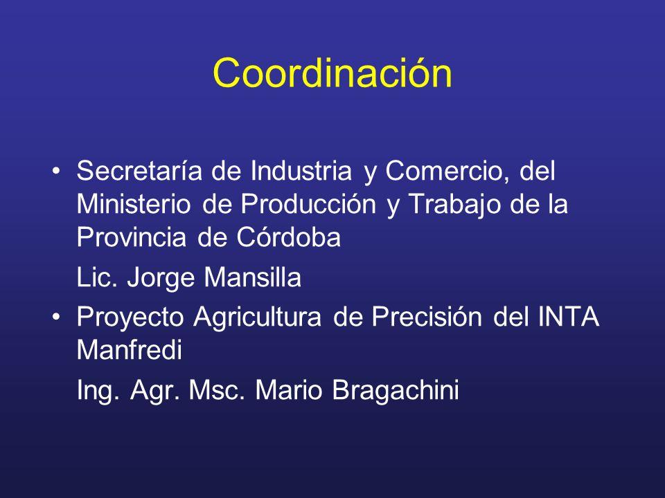 Coordinación Secretaría de Industria y Comercio, del Ministerio de Producción y Trabajo de la Provincia de Córdoba Lic. Jorge Mansilla Proyecto Agricu