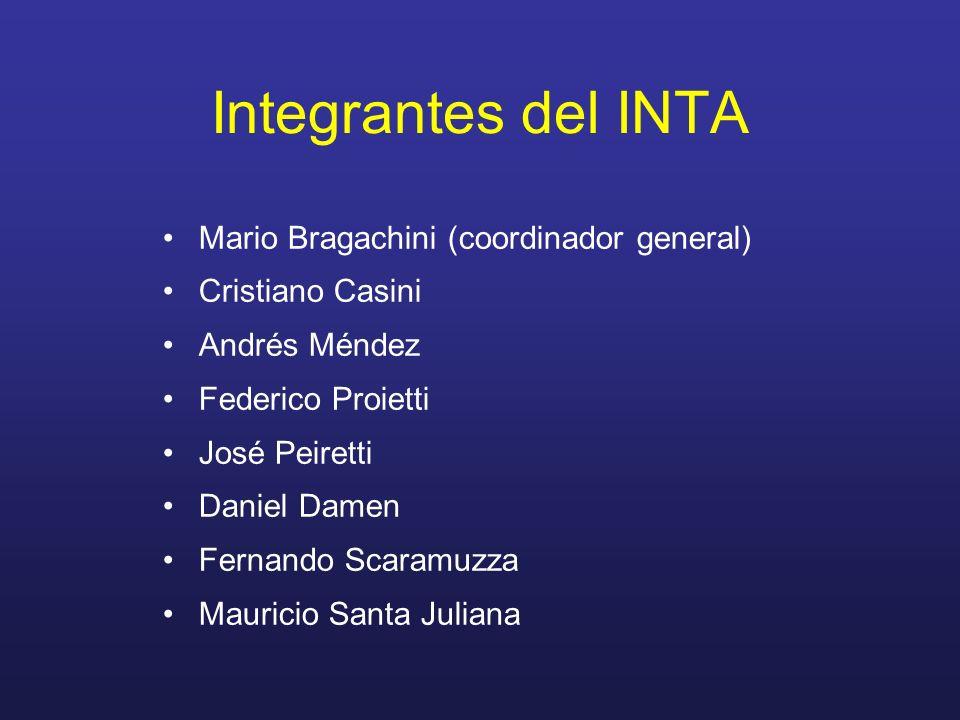 Integrantes del INTA Mario Bragachini (coordinador general) Cristiano Casini Andrés Méndez Federico Proietti José Peiretti Daniel Damen Fernando Scara