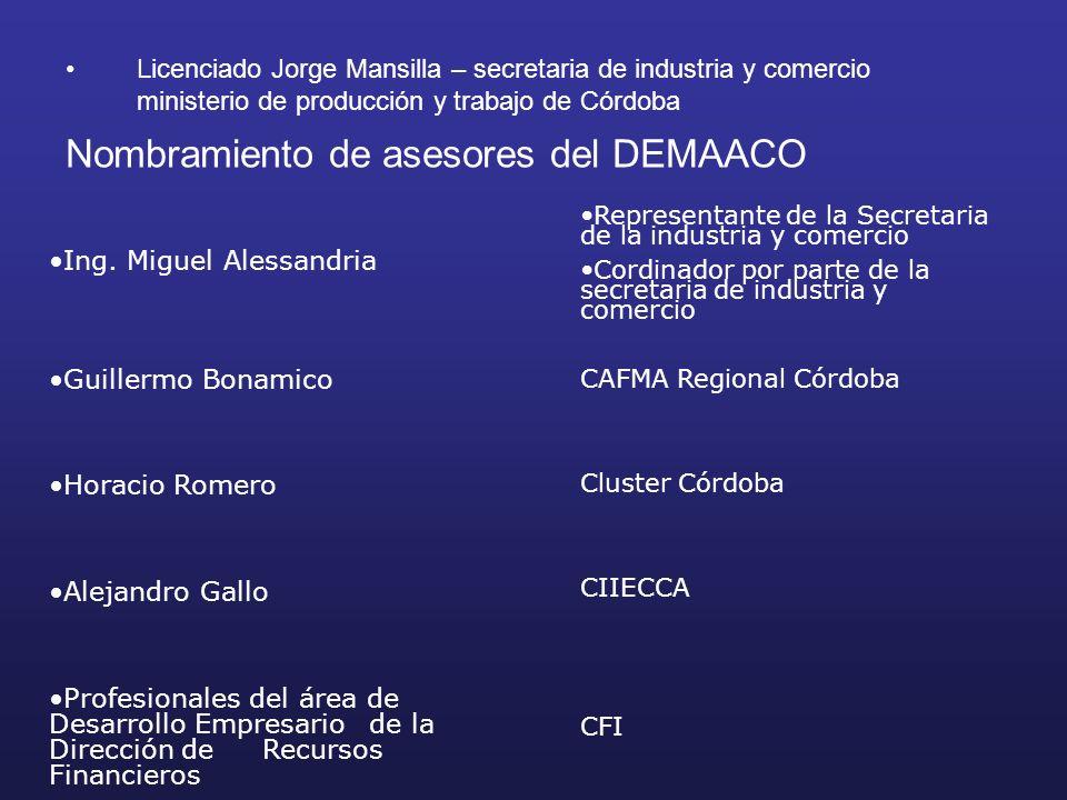 Licenciado Jorge Mansilla – secretaria de industria y comercio ministerio de producción y trabajo de Córdoba Nombramiento de asesores del DEMAACO Ing.