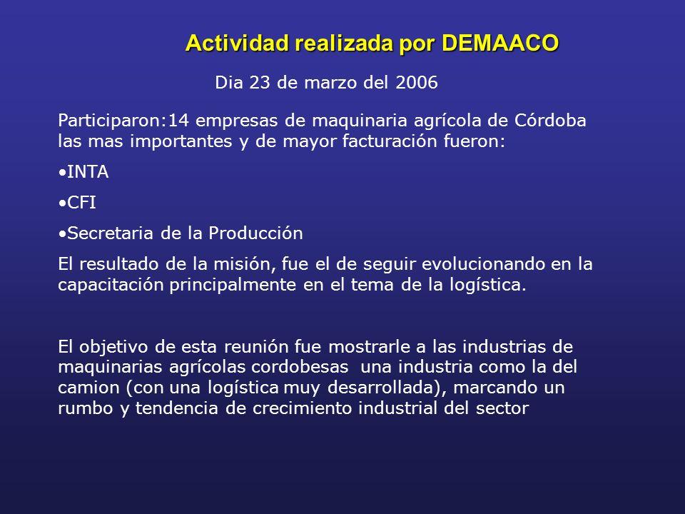 Actividad realizada por DEMAACO Dia 23 de marzo del 2006 Participaron:14 empresas de maquinaria agrícola de Córdoba las mas importantes y de mayor fac