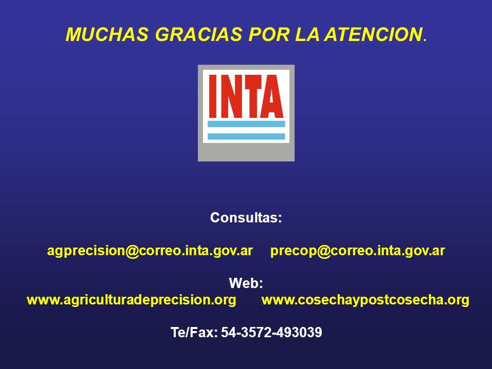 MUCHAS GRACIAS POR LA ATENCION. Consultas: agprecision@correo.inta.gov.ar precop@correo.inta.gov.ar Web: www.agriculturadeprecision.org www.cosechaypo