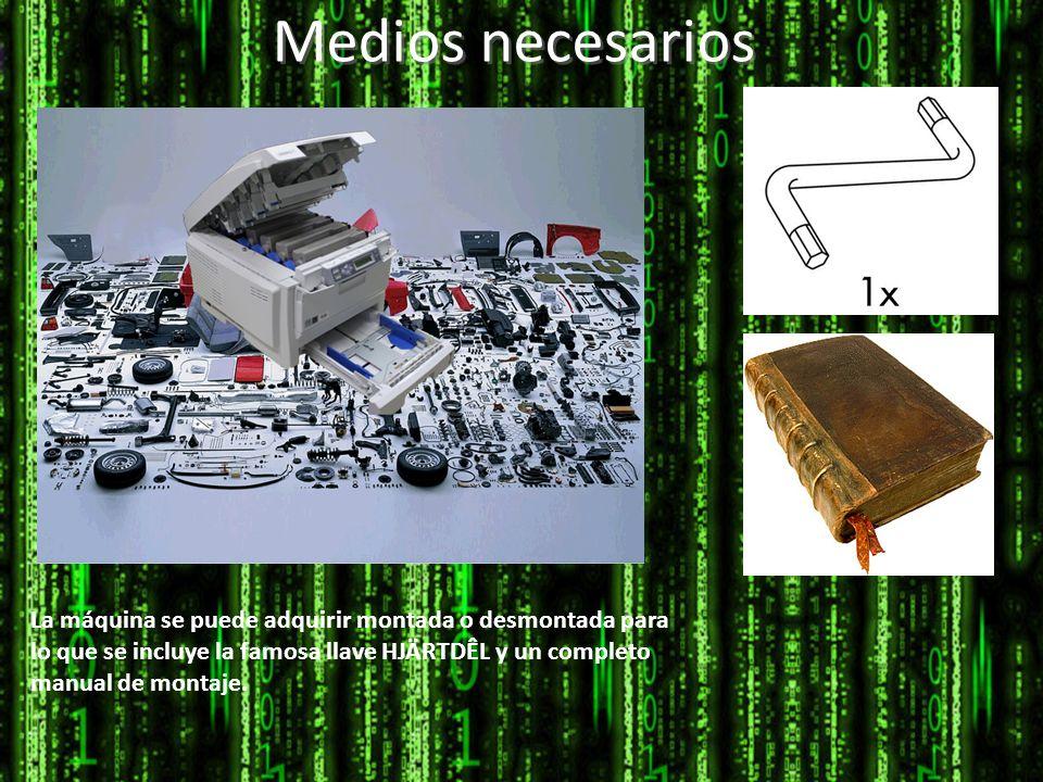 Medios necesarios La máquina se puede adquirir montada o desmontada para lo que se incluye la famosa llave HJÄRTDÊL y un completo manual de montaje.