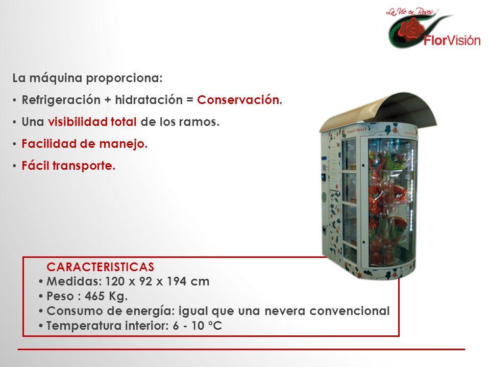 CARACTERISTICAS Medidas: 120 x 92 x 194 cm Peso : 465 Kg. Consumo de energía: igual que una nevera convencional Temperatura interior: 6 - 10 ºC La máq