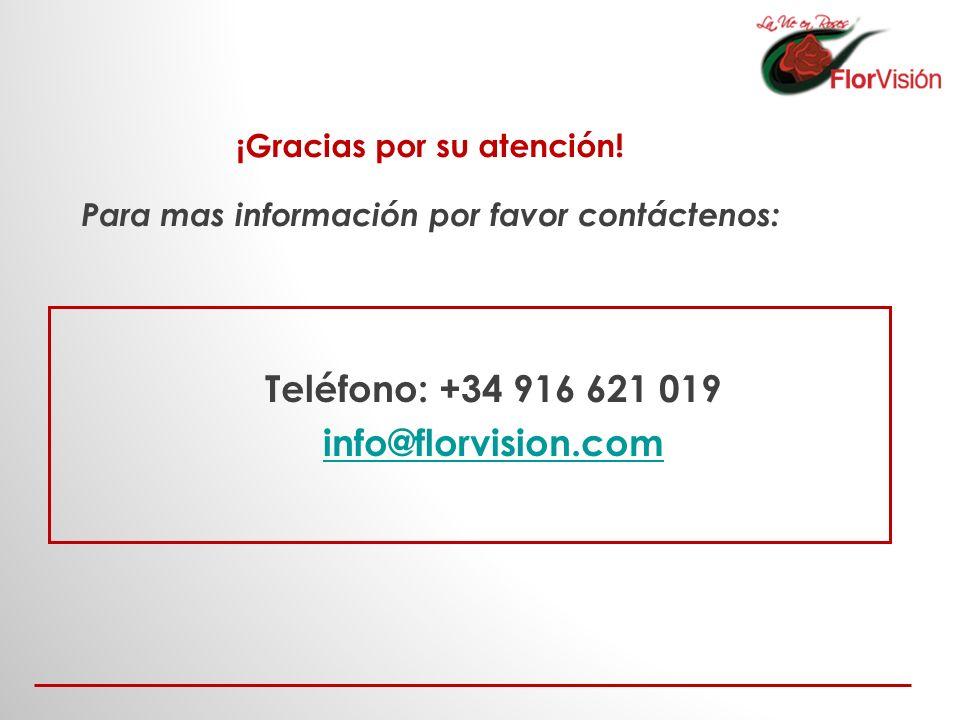 Teléfono: +34 916 621 019 info@florvision.com ¡Gracias por su atención! Para mas información por favor contáctenos: