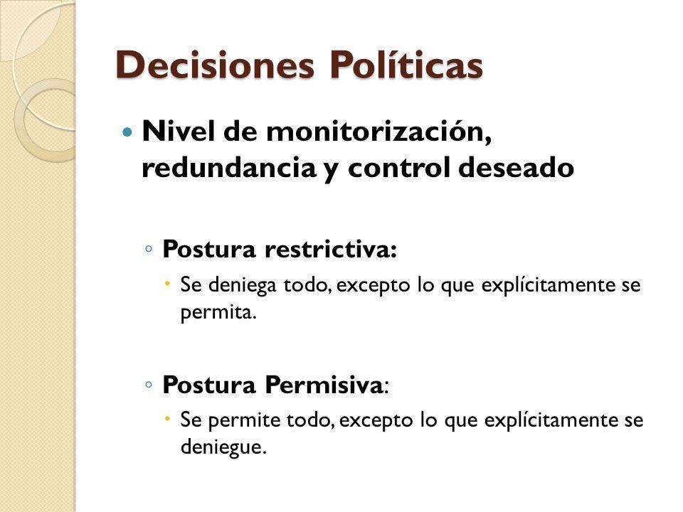 Decisiones Políticas Nivel de monitorización, redundancia y control deseado Postura restrictiva: Se deniega todo, excepto lo que explícitamente se per