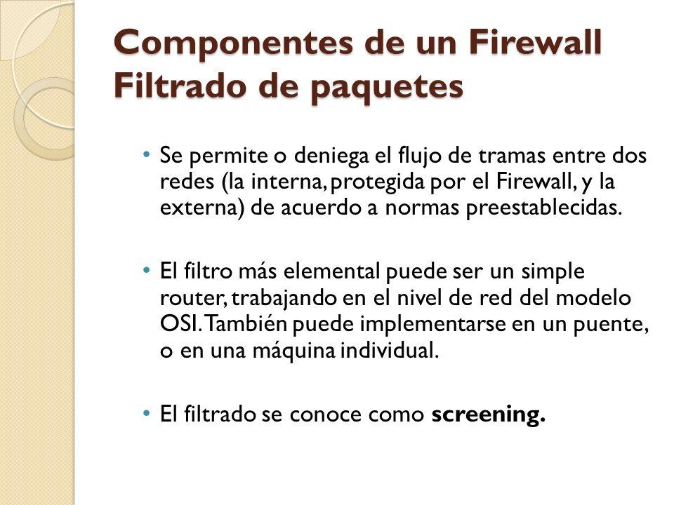Componentes de un Firewall Filtrado de paquetes Se permite o deniega el flujo de tramas entre dos redes (la interna, protegida por el Firewall, y la e