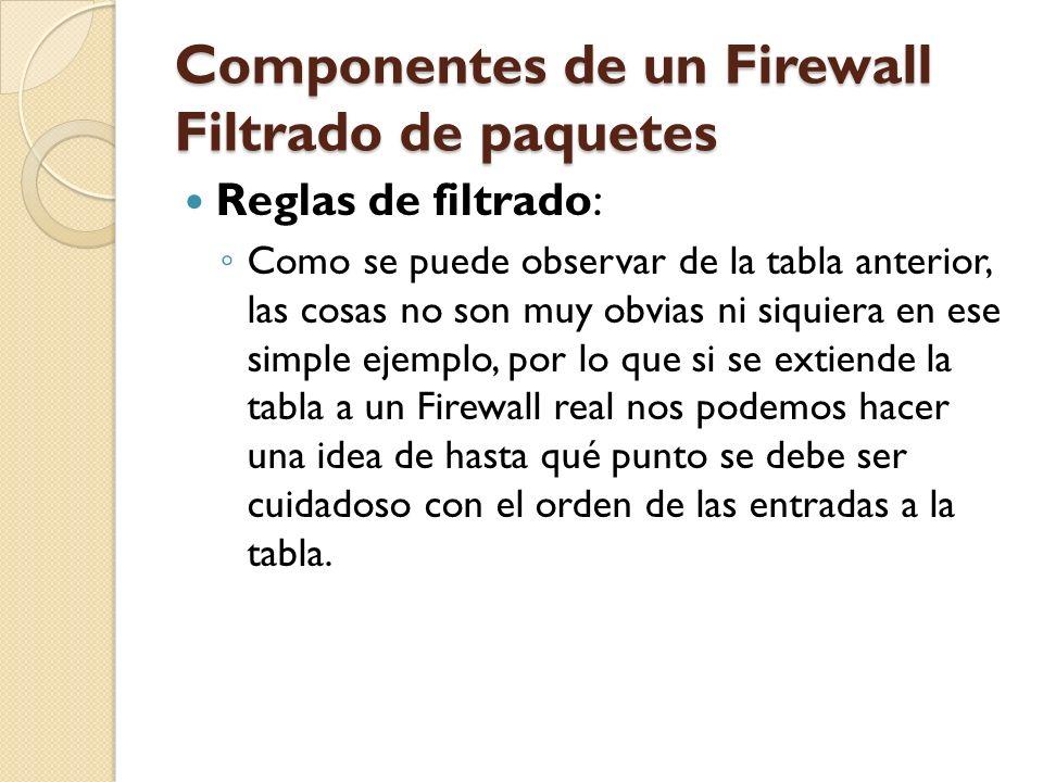 Componentes de un Firewall Filtrado de paquetes Reglas de filtrado: Como se puede observar de la tabla anterior, las cosas no son muy obvias ni siquie
