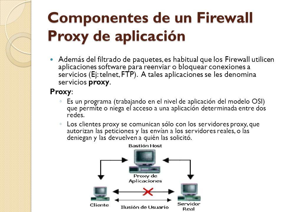 Componentes de un Firewall Proxy de aplicación Además del filtrado de paquetes, es habitual que los Firewall utilicen aplicaciones software para reenv