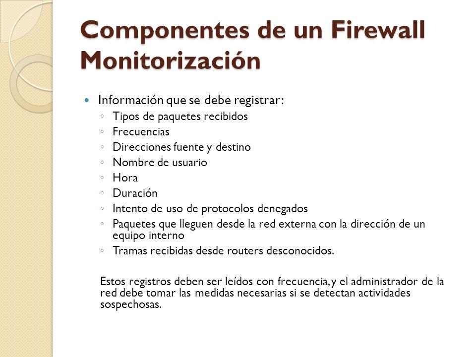 Componentes de un Firewall Monitorización Información que se debe registrar: Tipos de paquetes recibidos Frecuencias Direcciones fuente y destino Nomb