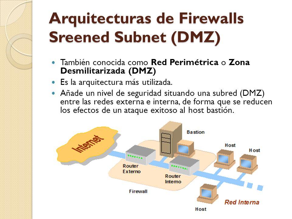 Arquitecturas de Firewalls Sreened Subnet (DMZ) También conocida como Red Perimétrica o Zona Desmilitarizada (DMZ) Es la arquitectura más utilizada. A