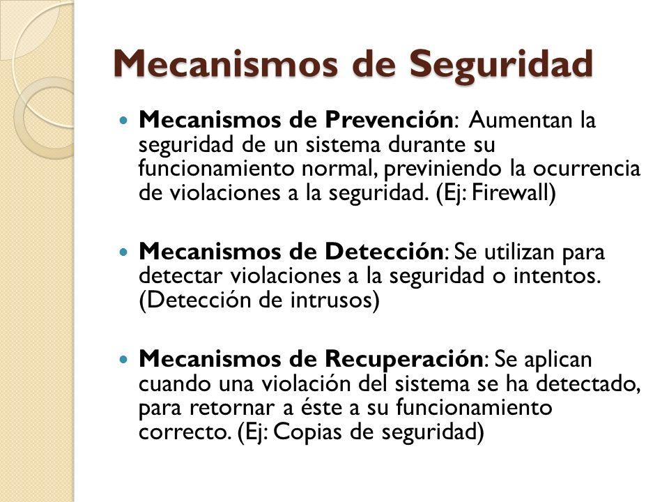 Mecanismos de Seguridad Mecanismos de Prevención: Aumentan la seguridad de un sistema durante su funcionamiento normal, previniendo la ocurrencia de v