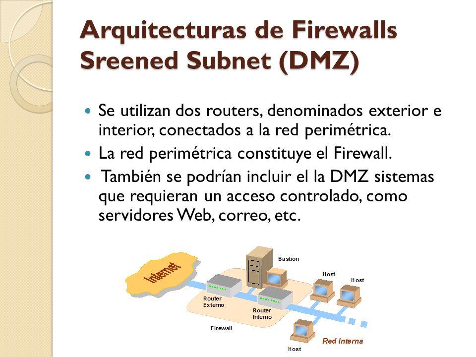 Arquitecturas de Firewalls Sreened Subnet (DMZ) Se utilizan dos routers, denominados exterior e interior, conectados a la red perimétrica. La red peri