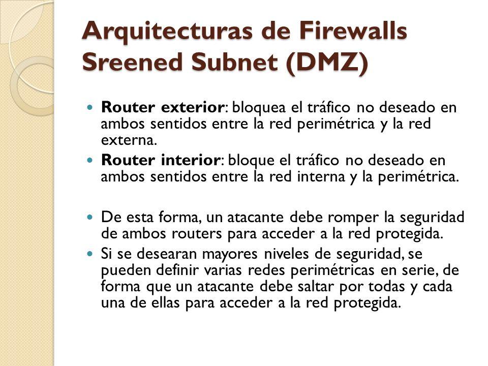 Arquitecturas de Firewalls Sreened Subnet (DMZ) Router exterior: bloquea el tráfico no deseado en ambos sentidos entre la red perimétrica y la red ext