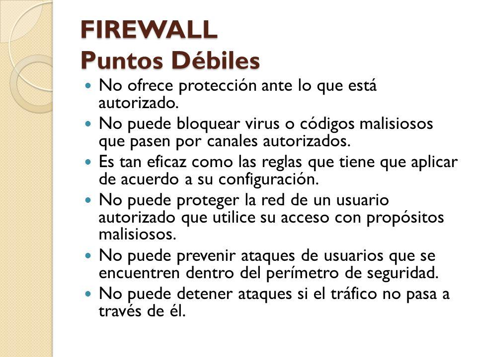 FIREWALL Puntos Débiles No ofrece protección ante lo que está autorizado. No puede bloquear virus o códigos malisiosos que pasen por canales autorizad