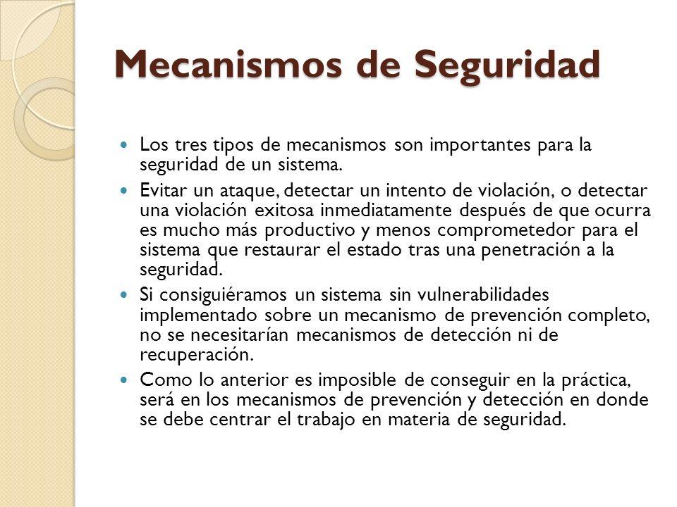 Mecanismos de Seguridad Los tres tipos de mecanismos son importantes para la seguridad de un sistema. Evitar un ataque, detectar un intento de violaci