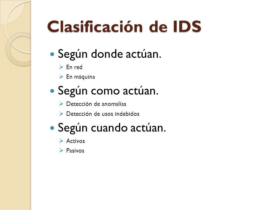 Clasificación de IDS Según donde actúan. En red En máquina Según como actúan. Detección de anomalías Detección de usos indebidos Según cuando actúan.