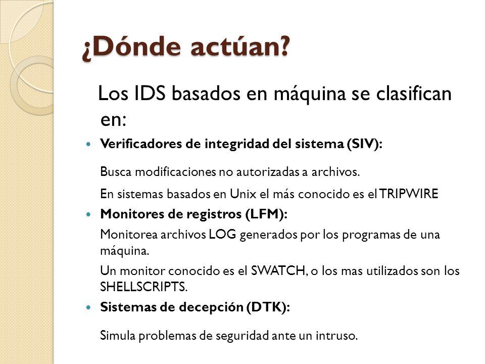 ¿Dónde actúan? Los IDS basados en máquina se clasifican en: Verificadores de integridad del sistema (SIV): Busca modificaciones no autorizadas a archi
