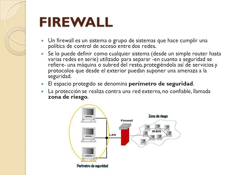 FIREWALL Un firewall es un sistema o grupo de sistemas que hace cumplir una política de control de acceso entre dos redes. Se lo puede definir como cu