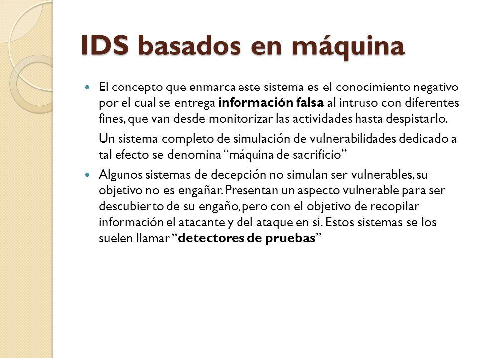 IDS basados en máquina El concepto que enmarca este sistema es el conocimiento negativo por el cual se entrega información falsa al intruso con difere