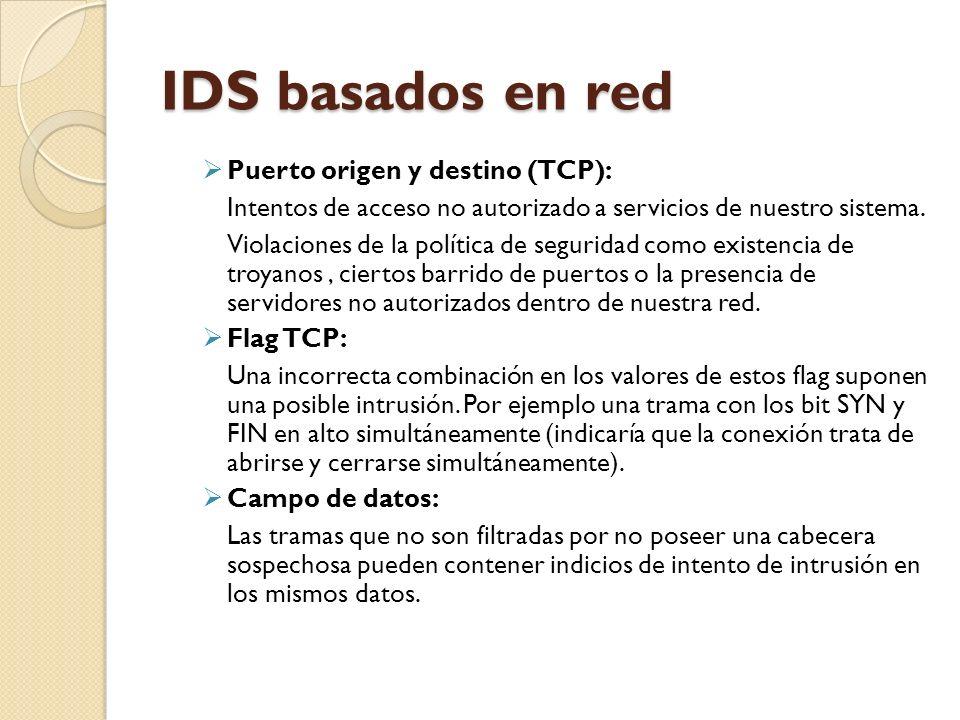 IDS basados en red Puerto origen y destino (TCP): Intentos de acceso no autorizado a servicios de nuestro sistema. Violaciones de la política de segur