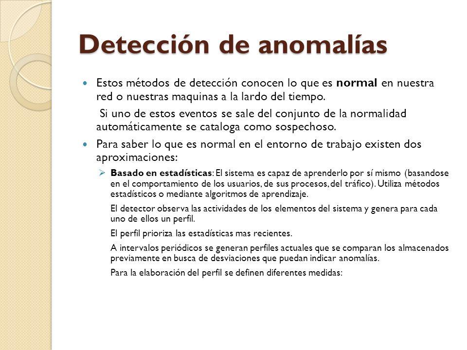 Detección de anomalías Estos métodos de detección conocen lo que es normal en nuestra red o nuestras maquinas a la lardo del tiempo. Si uno de estos e